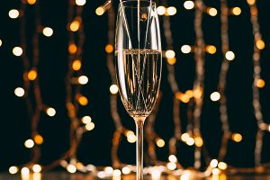 champagne with christmas sparkles on