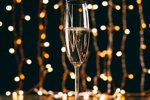 champagne with christmas sparkle on