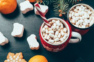 top view of cups of hot drinks with