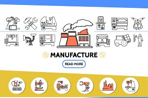 Manufacture line icons set