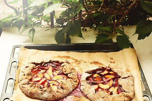homemade open pie with plums