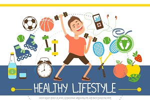 Flat healthy lifestyle concept