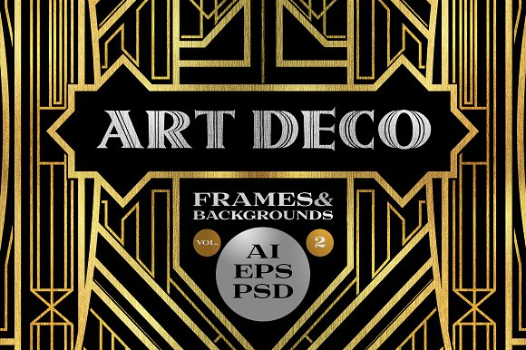 10 frames vol 2 art deco style objects on creative market - Deco vol ...