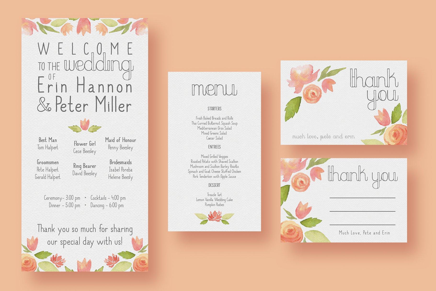 Garden Watercolour Wedding Suite - Invitation Templates | Creative ...