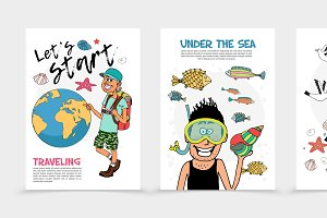 Flat summer travel posters