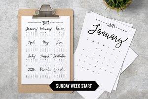 Calendar 2019 A4 Sunday Start