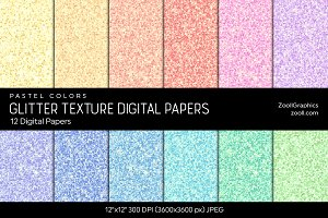 Glitter Digital Papers – Pastel