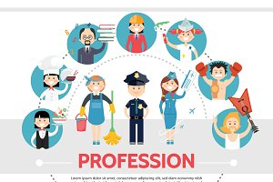 Flat professional workers concept
