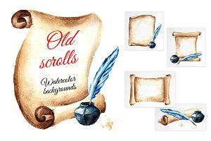 Old scrolls. Watercolor backgrounds
