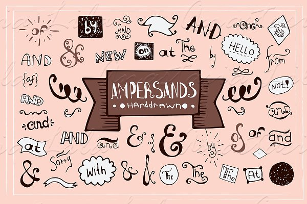 Symbol Fonts: A.Lila - Set of hand-drawn ampersands