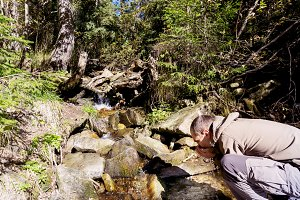 A man drinking water from a river. M