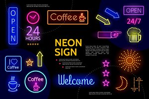 Illuminated advertising neon signs