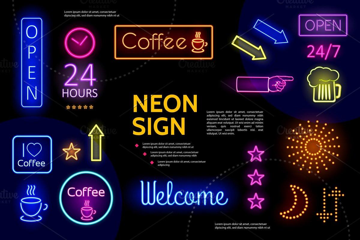 Illuminated advertising neon signs