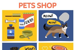 Flat pet shop square concept