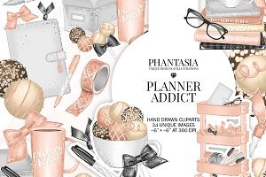 Planner Addict Watercolor Clipart