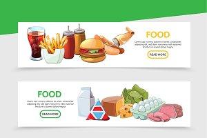 Cartoon food horizontal banners