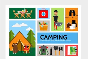 Outdoor recreation infographic set