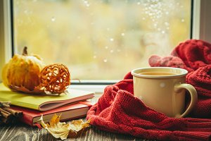Autumn tea with scarf and leaves in