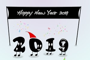 Animated numerals of 2019 year congr