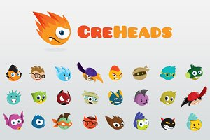 CreHeads - Fun Creature Heads Logo