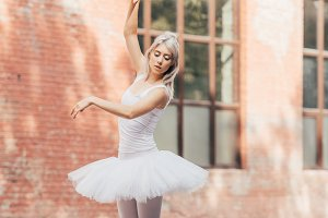 beautiful young ballerina in pointe