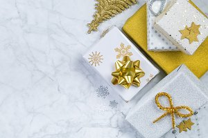 Christmas concept - silver and gold