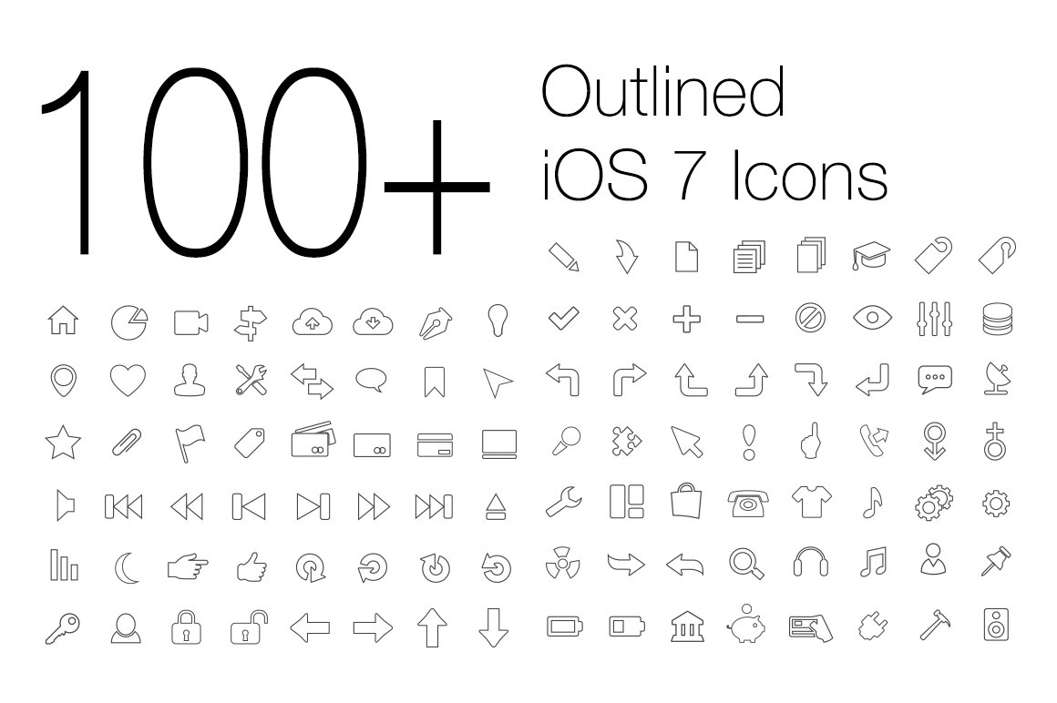 100 outlined ios 7 icons icons creative market altavistaventures Choice Image