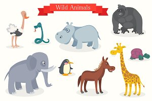 Animal cartoons, safari, wild nature