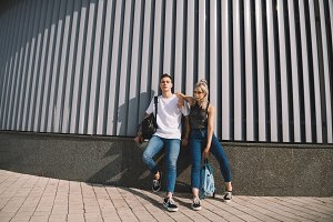 beautiful stylish young couple with