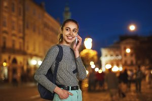 young woman tourist walking on the