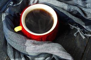 Coffee mug in a decorative homemade