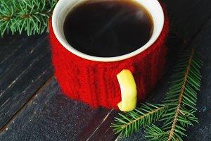Coffee mug tied with red thread hand