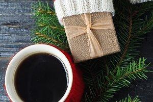 Coffee mug and Christmas gift in the