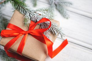 Gift boxed for Christmas on a white
