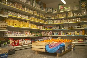The shelves of the minimarket.