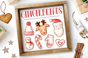 50% Off Watercolor Xmas Gingerbreads