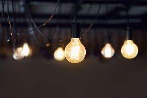 selective focus of Light bulb hangin