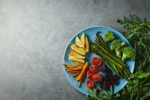 Food background. backed asparagus