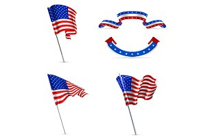 United States vector flags icons