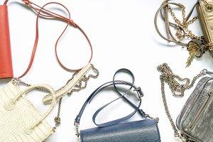 flat lay of woman handbag set. Trend