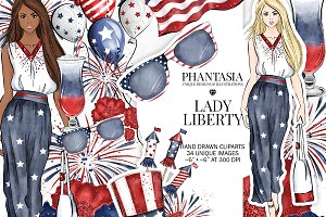 Independance Day Watercolor Clipart