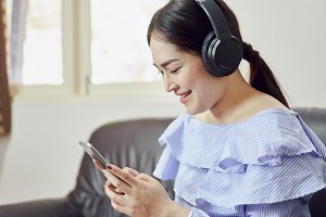 Women are listening to music from bl