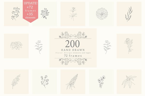 200 Hand Drawn Floral Elements,Fram…