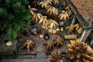 Top view of Group of Old Vietnamese