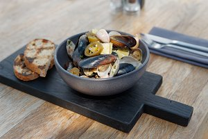 Shelfish sautee on restaurant table