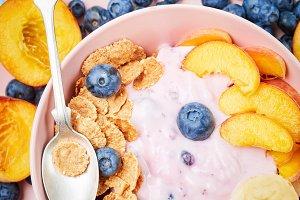 berry yoghurt with fresh blueberries