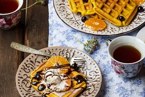 Breakfast with pumpkin waffles and i