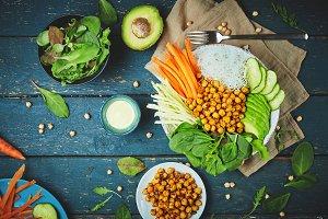 ingredient set for cooking vegan