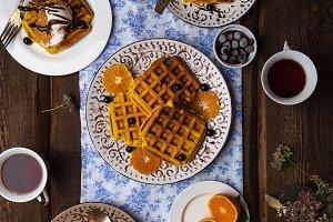 Breakfast with pumpkin waffles