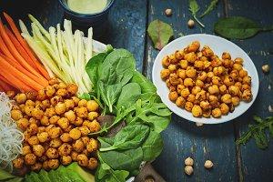 vegan food, fried chickpeas, rice